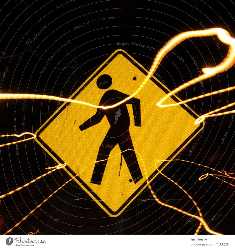 Human being Yellow Car Lamp Line Going Signs and labeling Transport Dangerous Stripe Threat Arrow City life Lightning Traffic infrastructure Warning label