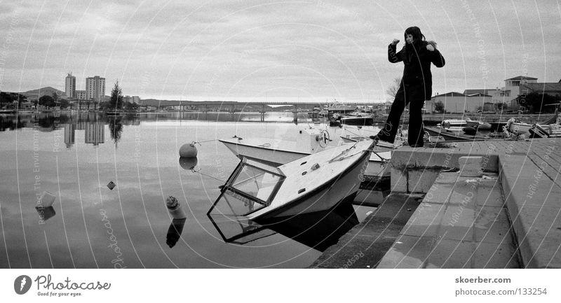 sinking ships Sardinia Vacation & Travel Strong Watercraft Capsize Italy Olbia Bridge Black & white photo