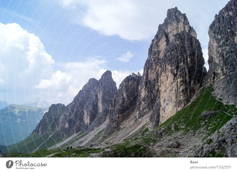Cadini Group Far-off places Hiking Nature Landscape Elements Earth Sky Clouds Horizon Summer Grass Rock Alps Mountain Dolomites South Tyrol Peak Gravel Valley