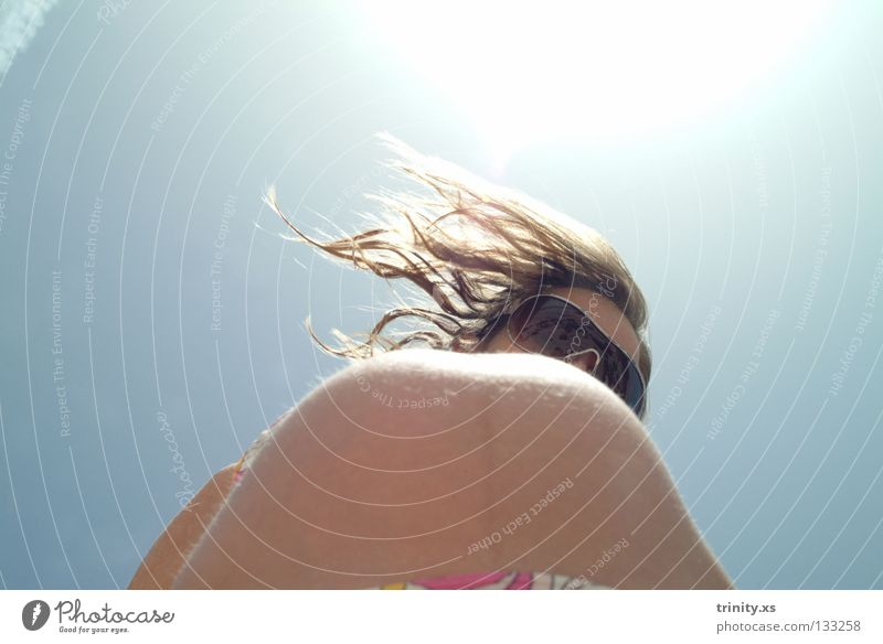 Human being Woman Sky Blue White Summer Sun Joy Yellow Face Hair and hairstyles Laughter Lamp Sand Bright Wind