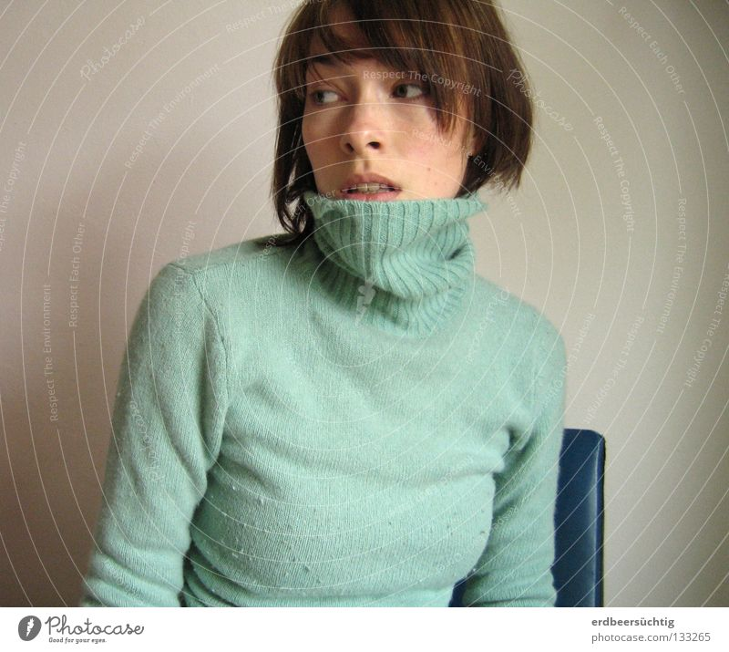 retrospect Chair Woman Adults Eyes Sweater Blue Hope Longing Fear Past Transience Roll-necked sweater Wall (building) Empty Backward Hesitate Alcohol-fueled