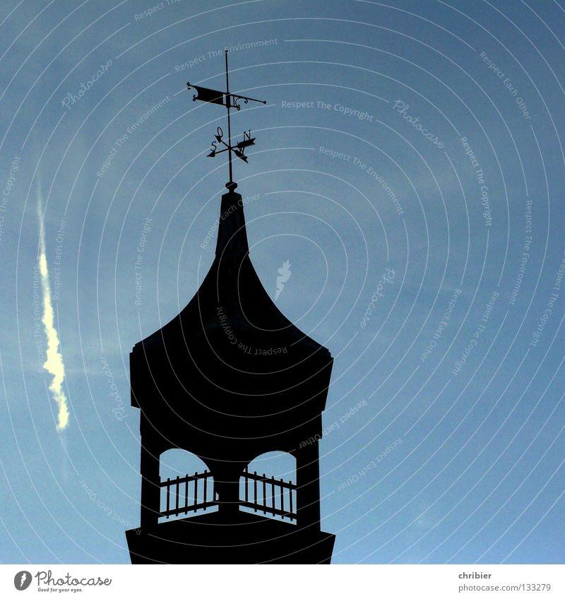 Sky Blue Black Religion and faith Tower Fence Farmhouse Handrail Crash House of worship Church spire Vapor trail Weathercock