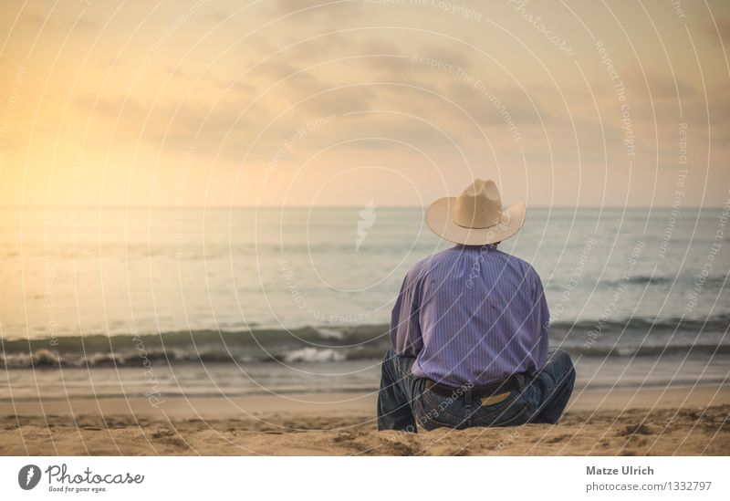 Human being Man Summer Water Loneliness Beach Adults Sadness Emotions Coast Sand Masculine Dream Waves Sit 45 - 60 years