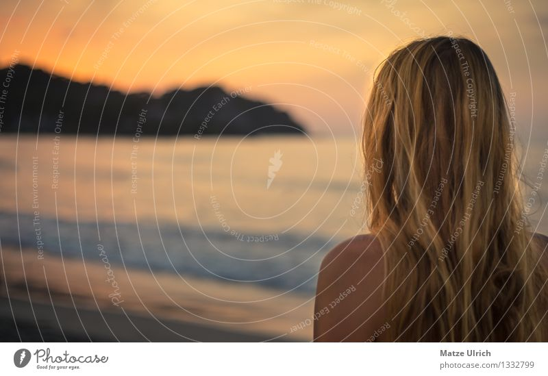 Blond Sunset Beautiful Hair and hairstyles Feminine Young woman Youth (Young adults) Head 1 Human being 18 - 30 years Adults Sand Water Sunrise Sunlight Summer