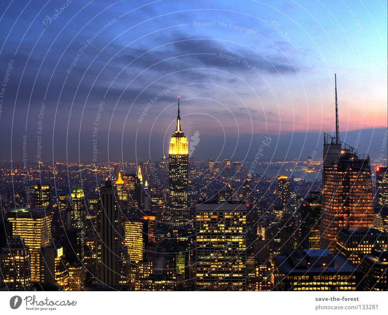 City High-rise USA Building Americas Skyline New York City Dusk Manhattan HDR Empire State building Rockefeller Center