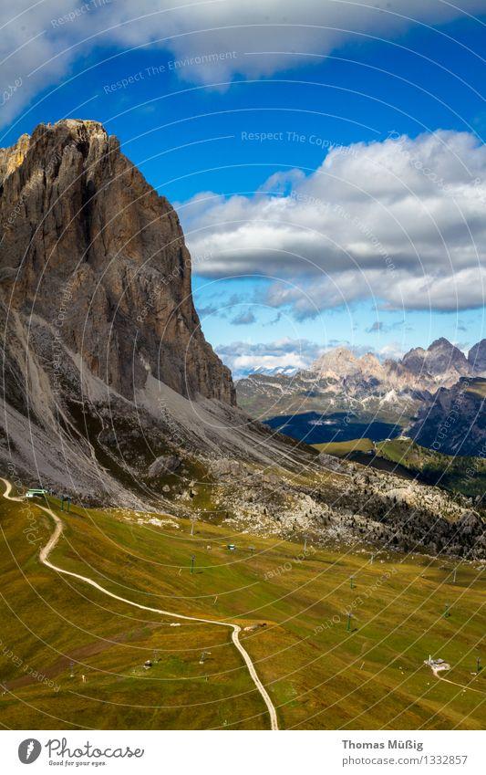 Dolomites Tourism Summer Mountain Hiking Forest Alps Peak travel Trentino-Alto Adige Mountaineering Blue sky Val Gardena high mountains Italy Langkofel