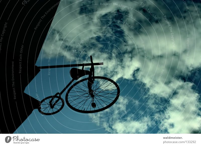 Le vélocipède bicycle Bicycle Kiddy bike Historic Vintage car Wall (building) House (Residential Structure) Back-light Silhouette Detail high wheel for children