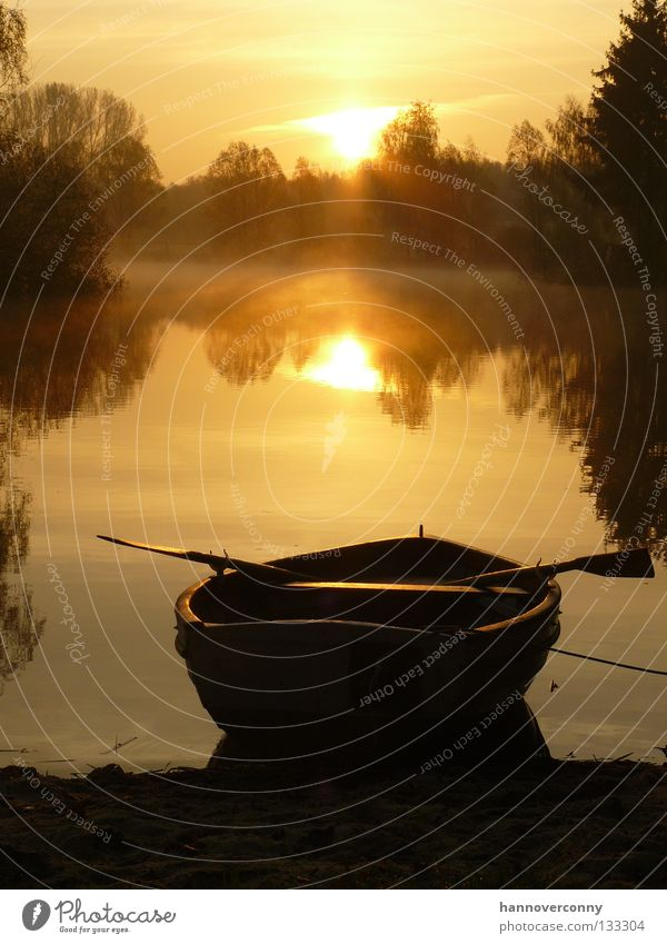 """Good morning"" idyll Watercraft Rowboat Lake Pond Sunrise Water reflection Morning Fog Dew Calm Contentment Relaxation Romance Playing Paddle gravel pond"