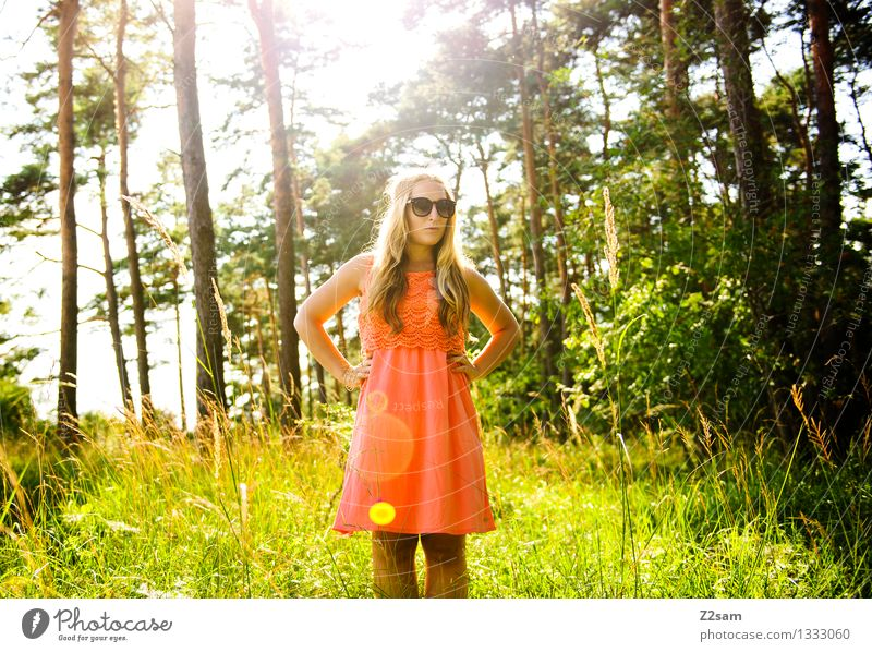 Nature Youth (Young adults) Green Beautiful Summer Young woman Sun Tree Loneliness Landscape 18 - 30 years Forest Adults Grass Natural Feminine
