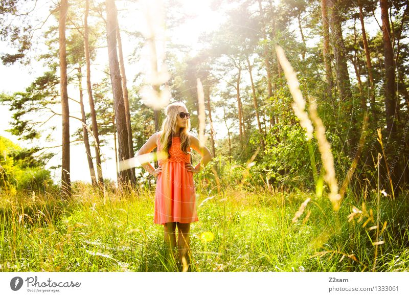 Human being Nature Youth (Young adults) Green Beautiful Summer Young woman Calm 18 - 30 years Forest Adults Grass Feminine Freedom Fashion Pink