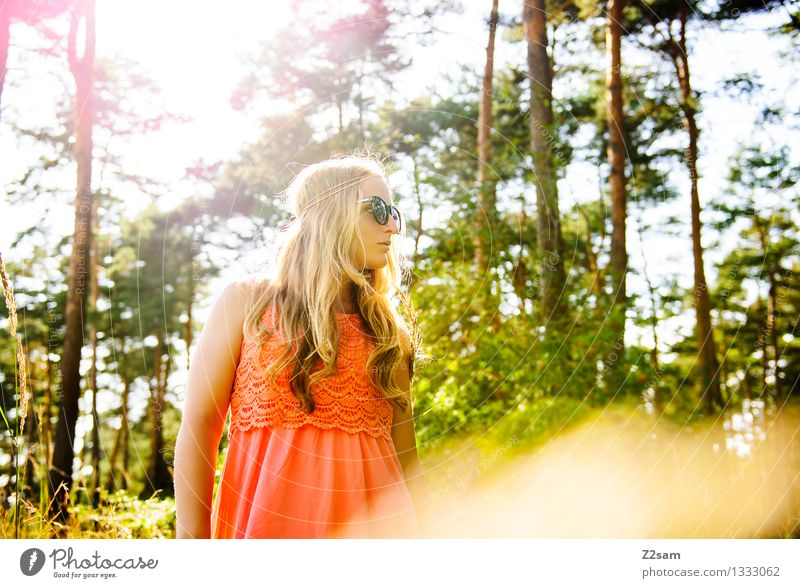 Nature Youth (Young adults) Plant Beautiful Summer Young woman Sun Landscape 18 - 30 years Forest Adults Natural Feminine Style Happy Think