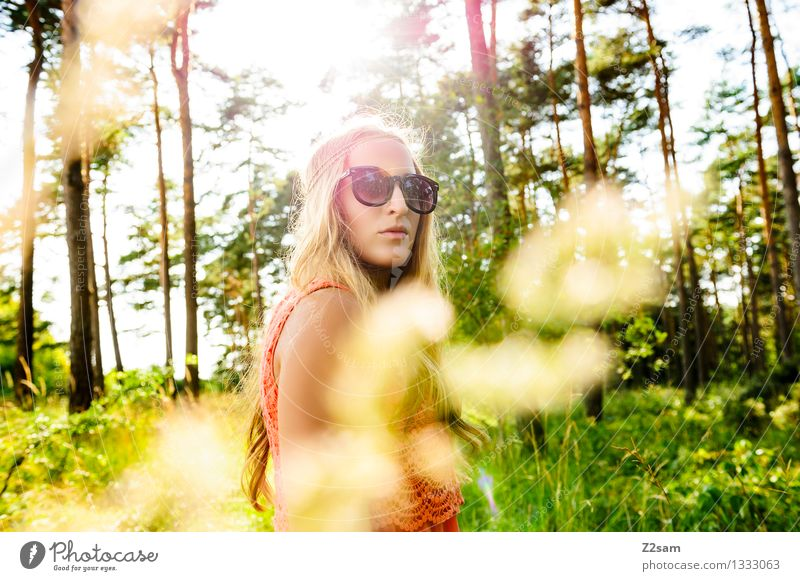 Summer Girls Feminine Young woman Youth (Young adults) 1 Human being 18 - 30 years Adults Nature Sun Beautiful weather Forest Fashion Dress Sunglasses Haarkette