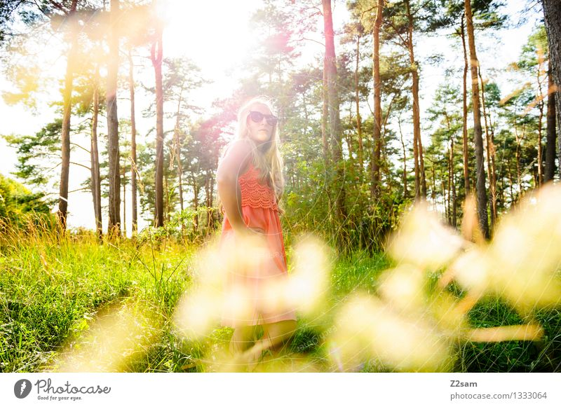 Human being Nature Youth (Young adults) Beautiful Summer Young woman Calm 18 - 30 years Forest Adults Freedom Fashion Pink Elegant Modern Authentic