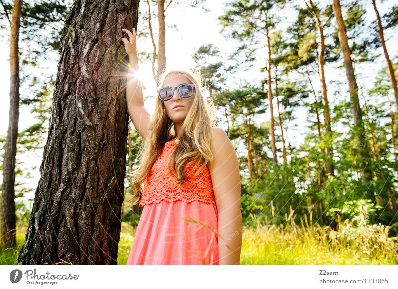 My friend the tree Elegant Feminine Young woman Youth (Young adults) 1 Human being 18 - 30 years Adults Nature Sun Summer Beautiful weather Forest Fashion Dress