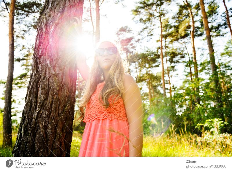 Nature Youth (Young adults) Beautiful Young woman Landscape Relaxation Forest 18 - 30 years Adults Feminine Style Lifestyle Happy Freedom Fashion Pink