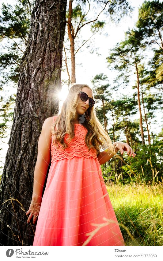 Diva and the tree Elegant Feminine Young woman Youth (Young adults) 1 Human being 18 - 30 years Adults Nature Summer Beautiful weather Tree Fashion Dress