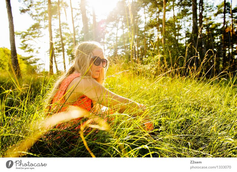 green break Feminine Young woman Youth (Young adults) 1 Human being 18 - 30 years Adults Nature Summer Beautiful weather Forest Meadow Fashion Dress Sunglasses