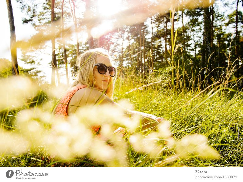 Nature Youth (Young adults) Beautiful Summer Young woman Relaxation Landscape 18 - 30 years Forest Adults Meadow Grass Natural Feminine Style Lifestyle
