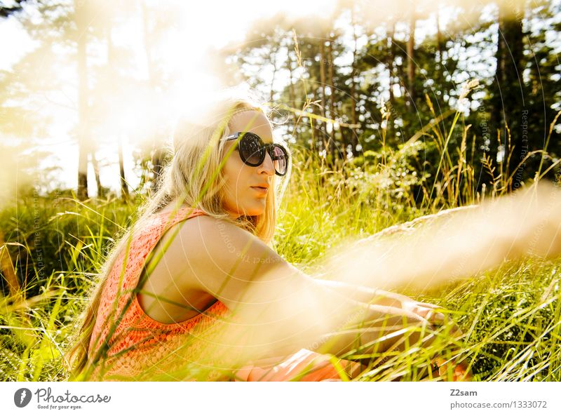 meadow rest Elegant Summer Feminine Young woman Youth (Young adults) 1 Human being 18 - 30 years Adults Nature Sun Beautiful weather Tree Grass Forest Fashion