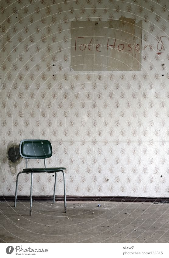 Loneliness Wall (building) Style Death Background picture Free Empty Retro Chair Characters Floor covering Transience Club Pants Wallpaper Room