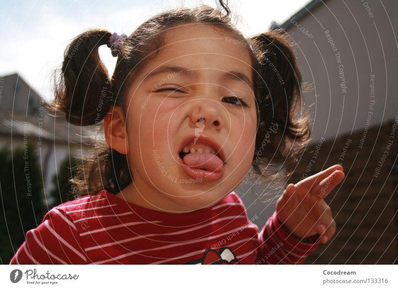 Ssh! Child Girl Grinning Summer Brash Garden Tongue