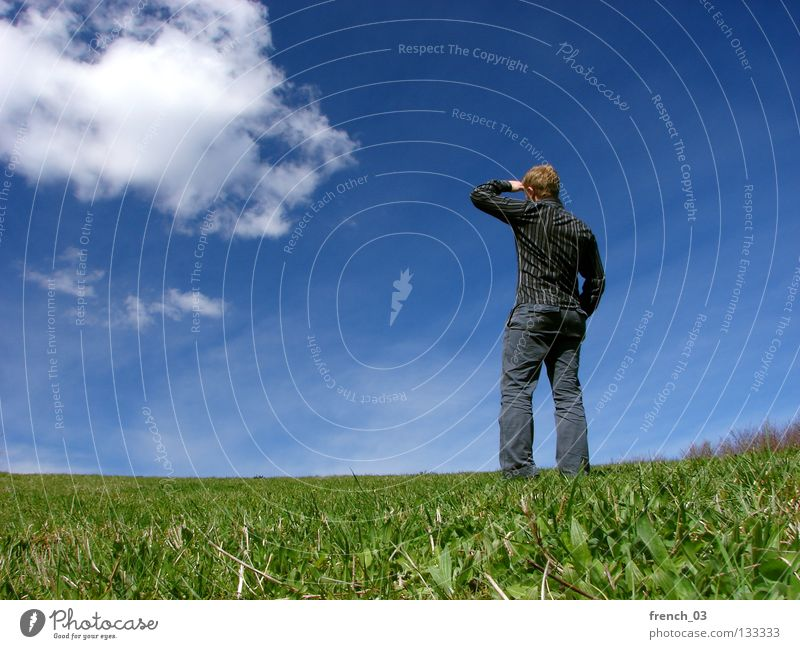 Human being Hand Youth (Young adults) Sky White Green Blue Clouds Loneliness Meadow Grass Spring Freedom Gray Sadness Lake