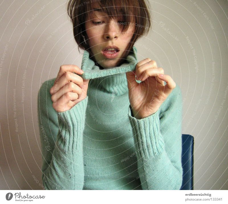 Woman Hand Blue Face Wall (building) Head Sadness Mouth Adults Hair Open Chair Lady Under Sweater