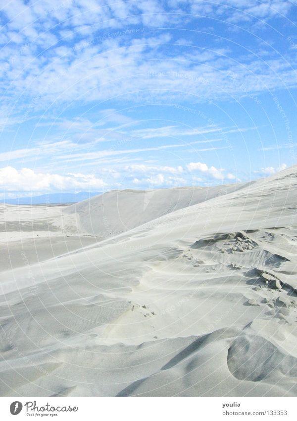 Sky Sun Blue Summer Beach Vacation & Travel Clouds Far-off places Freedom Sand Coast Earth Desert Beach dune Dune New Zealand