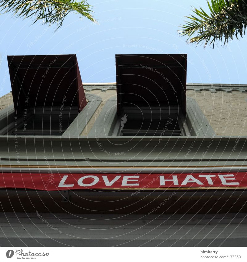 Sky Love House (Residential Structure) Window Building Concrete Facade Characters Gastronomy Palm tree Hatred Weather protection Front side Miami Sun blind