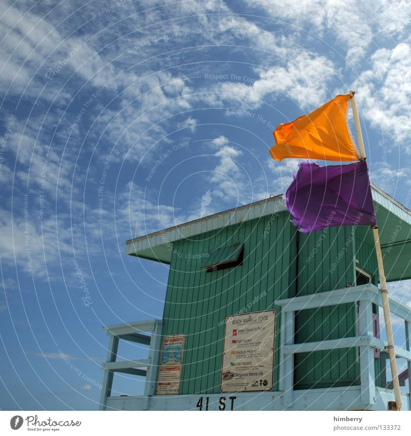 rescue me Beach Coastal patrol Ocean House (Residential Structure) Flag Vacation & Travel Sky Clouds Detail Watchfulness wachhaus beach patrol sea Hut flags