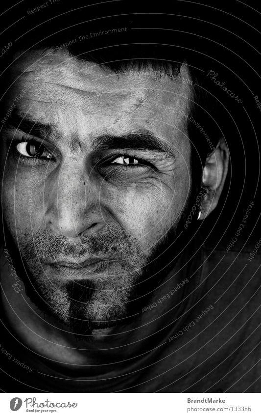 Man Beautiful Eyes Facial hair Looking Portrait photograph Designer stubble Unshaven Narrowed