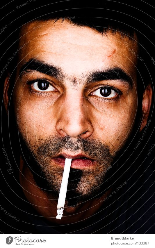 What? Portrait photograph Man Facial hair Unshaven Amazed Cigarette Tobacco Reflection Surprise Macro (Extreme close-up) Close-up Eyes Looking Designer stubble