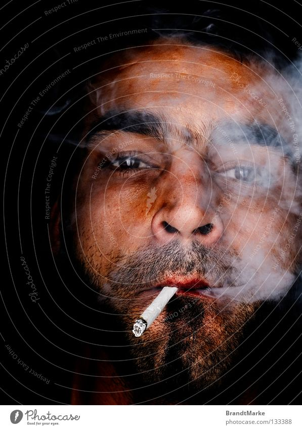 Bye, bye. Portrait photograph Man Facial hair Unshaven Cigarette Tobacco Smoke Feeble Eyes Looking Designer stubble Smoking homemade