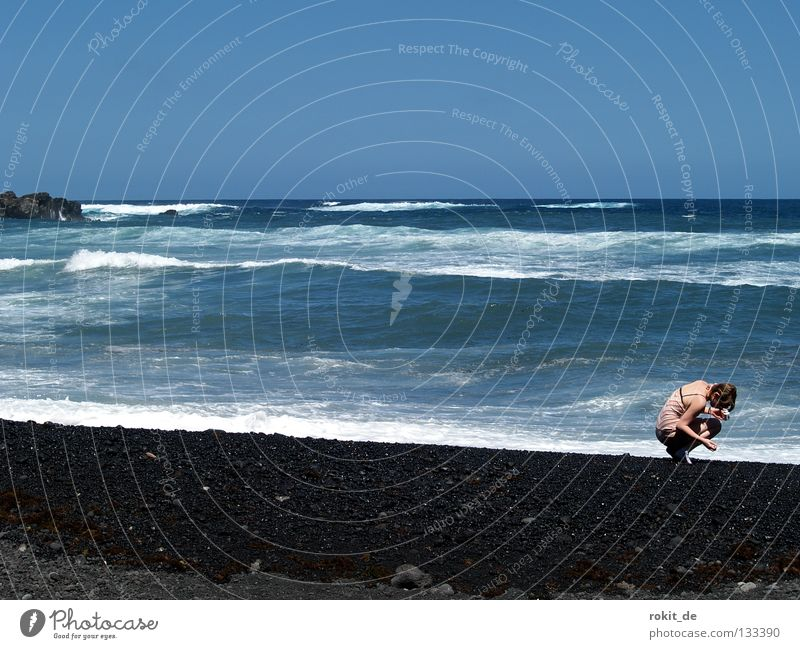 Woman Youth (Young adults) Ocean Joy Beach Stone Coast Waves Wet Search Island Dress Mussel Respect Atlantic Ocean Lava