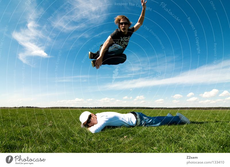 Man Nature Youth (Young adults) Sky White Green Blue Summer Calm Far-off places Colour Relaxation Meadow Jump Style Above