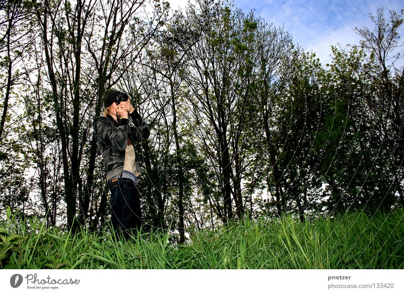 photographer Take a photo Photographer Forest Field Tree White Clouds Grass Green To go for a walk Going Photography Man Joy Art Culture Camera Sky Blue