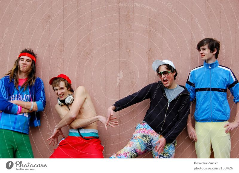 Blue Red Joy Wall (building) Music Funny Pink Crazy Retro Concert String Rock music Cap Headphones Fellow The eighties