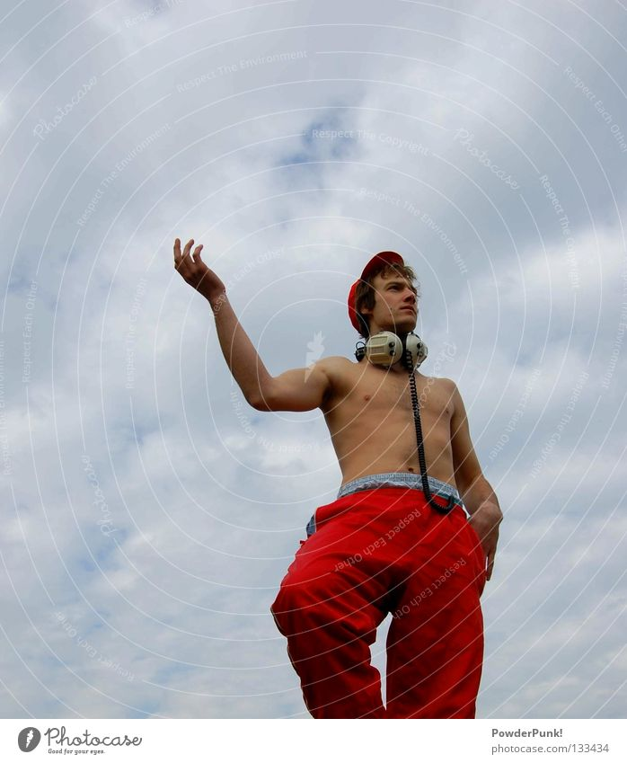 statue Statue Red Headphones Cap Man Music Clouds Hand Joy Art Culture Sky String Blue View into the distance Arm