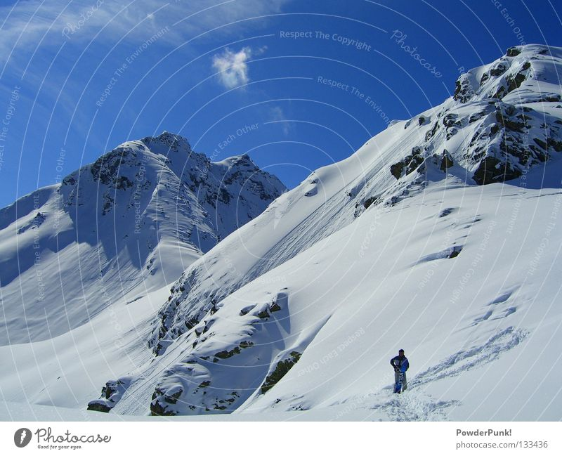 Sky Blue Winter Mountain Warmth Snow Sports Playing Stand Wait Alps Snowcapped peak Tracks Austria Winter sports Massive