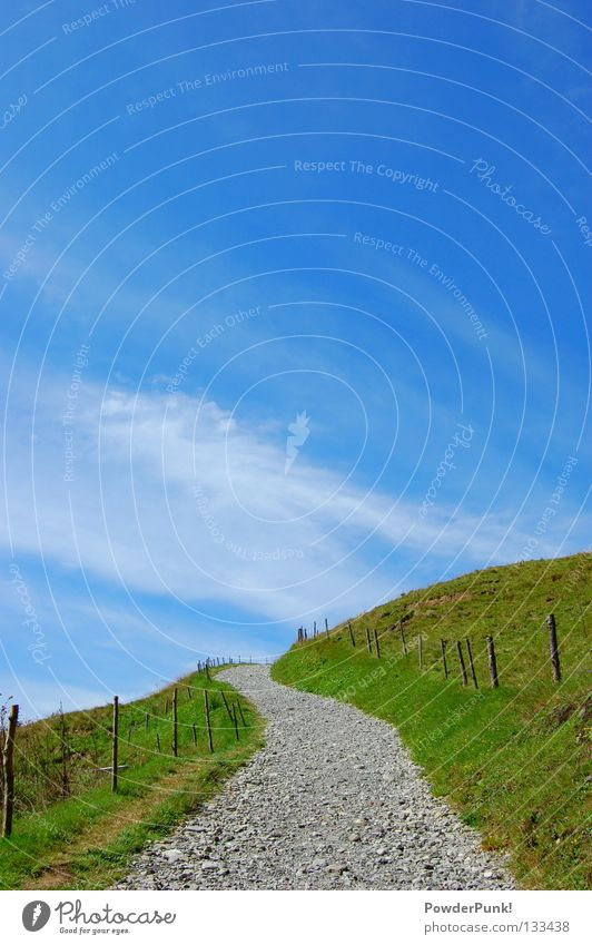 Sky Blue Summer Clouds Meadow Playing Mountain Lanes & trails Hiking Horizon Climbing Alps Pasture Fence Austria Gravel