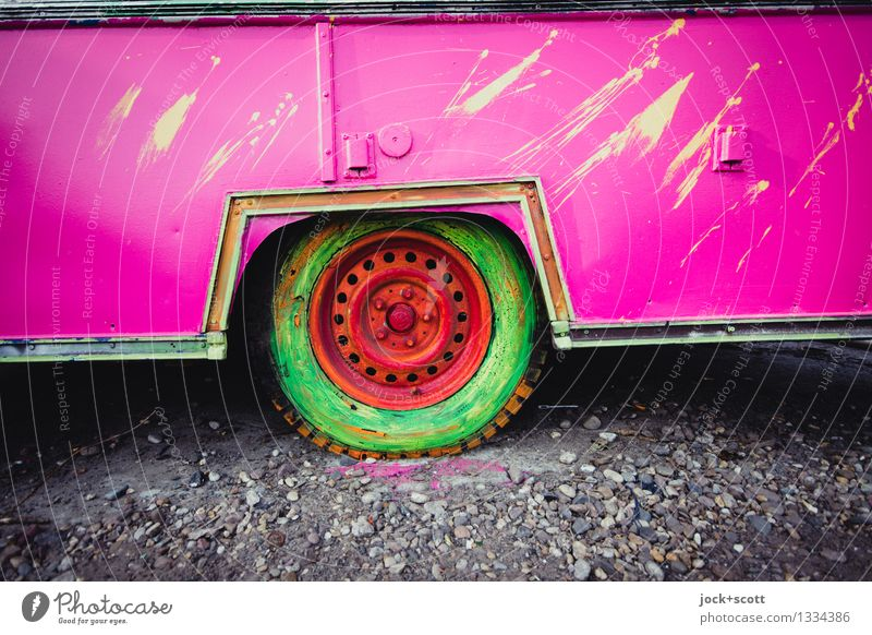 colorful wheel Subculture Street art Trailer Decoration Tire Exceptional Sharp-edged Uniqueness Trashy Pink Moody Enthusiasm Flexible Creativity Whimsical
