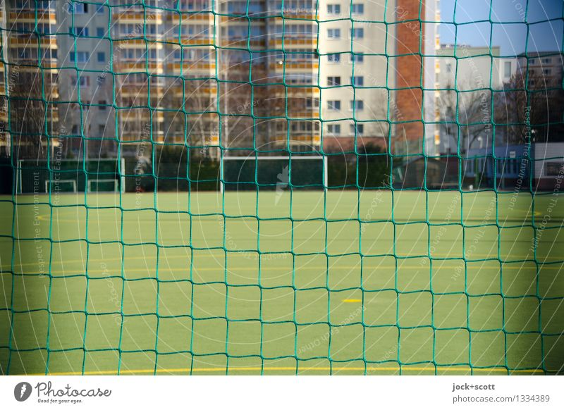 Net a goal Goal Football pitch Winter Beautiful weather Meadow Marzahn Building Prefab construction Authentic Sharp-edged Free Town Green Protection Agreed