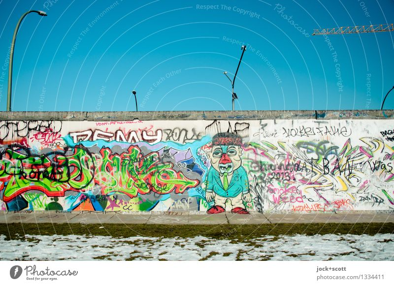 Wall west side Sightseeing Youth culture Subculture GDR Street art Cloudless sky Winter Snow Friedrichshain Wall (barrier) Wall (building) Eastside Gallery