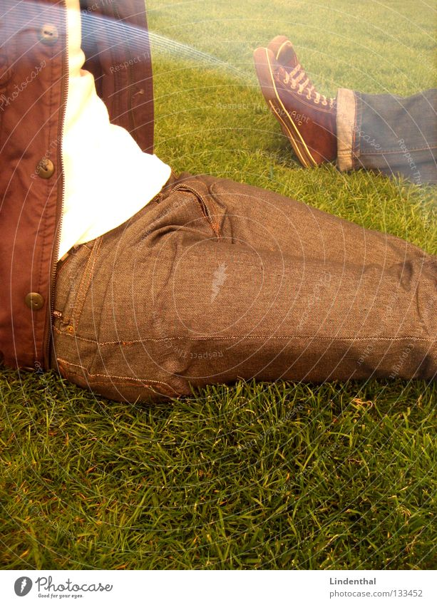Sun Summer Relaxation Meadow Park Footwear Sit Lie Pants Jacket To enjoy