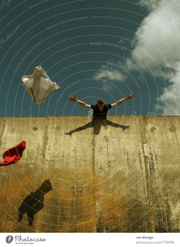 Human being Man Joy Wall (building) Freedom Jump Flying Walking Masculine Concrete Free To fall Hover Hop