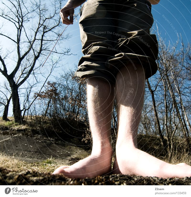 Human being Man Nature Hand Tree Summer Grass Feet Legs Large Perspective Stand Floor covering Pants 10 Short