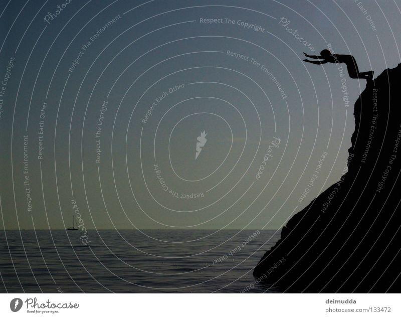 Human being Man Water Sky Ocean Jump Death Mountain Air Watercraft Flying Wet Tall To fall Deep Hang