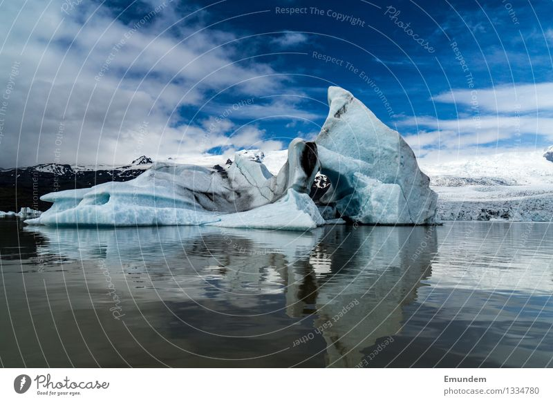 Iceberg in front of glacier Environment Nature Landscape Elements Water Sky Clouds Climate change Frost Iceland Dirty Cold Blue White Colour photo Exterior shot