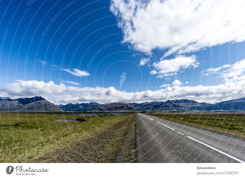Into the unknown Vacation & Travel Tourism Trip Far-off places Freedom Summer Landscape Sky Clouds Mountain Iceland Street Country road Driving Blue Gray Green