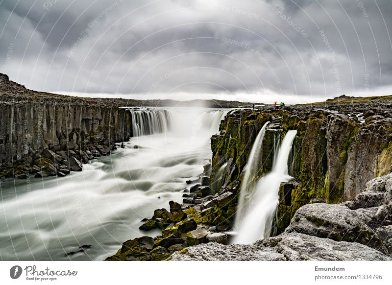 Godafoss Environment Nature Landscape Elements Water Sky Clouds Bad weather Waterfall High plain Iceland Wet Gloomy Wild Soft Gray Energy Long exposure Blur